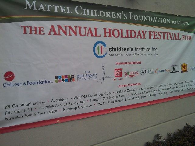 The Children's Institute Holiday Festival was sponsored by some corporate big guns. We saw first hand how big Mattel came through - the Stocking Stuffer Room was filled floor to ceiling with Mattel products... some really nice stuff. VERY nice stuff.