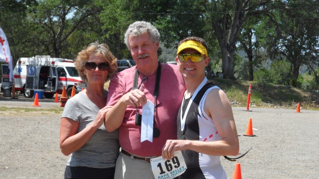 Papa Jeff and Suzanne made the trip to Napa - just to watch me race in my first half Ironman distance event.