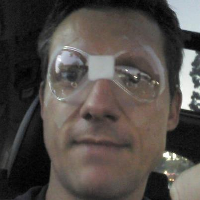 Oh, baby! Aren't these the hottest things ever? I see a new trend starting: taped on sexy goggles!