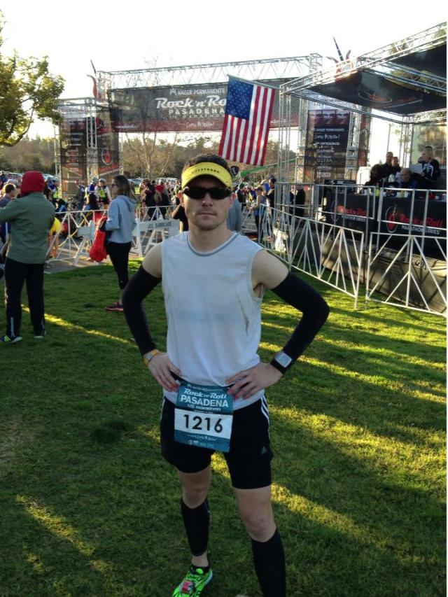 Just before I entered the starting corral. It was chilly, and I am fighting off some lingering injuries, hence the arm and calf sleeves.