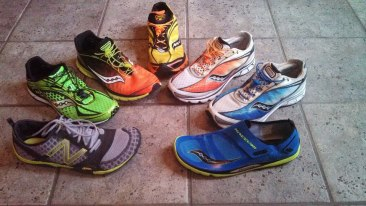 The Shoe Arsenal - yeah, I'm a big fan of the 'minimalist movement' in running shoes. All but one pair are from Saucony - lots of 4mm drop Kinvaras, a zero drop type A5 racing flat and Hattori, and some New Balance trail runners. They get me there: FAST!