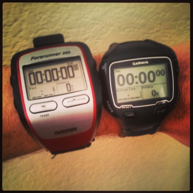 How the new Garmin (the 910xt on the right) compares to the old one (the 305 on the left). Yeah... a lot smaller... and has a tons more features. So excited!