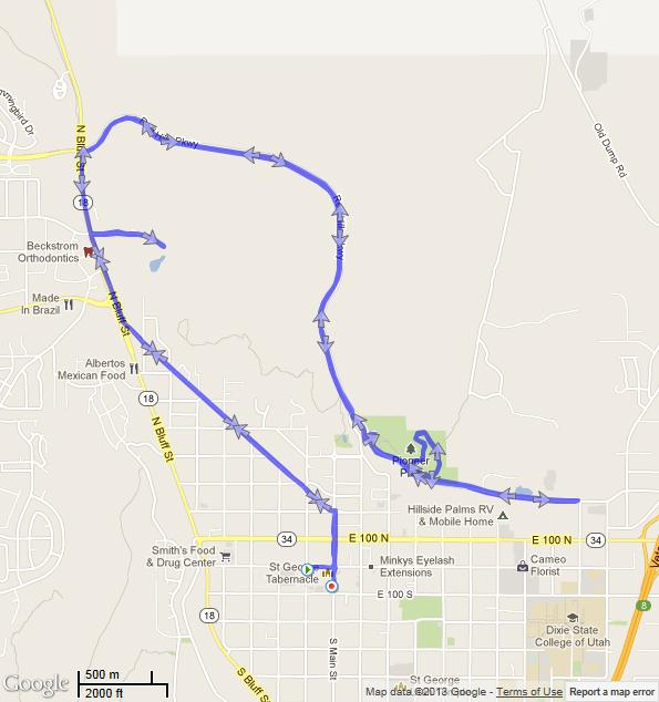 The map of the St George run course. The little detour at the end was just mean.