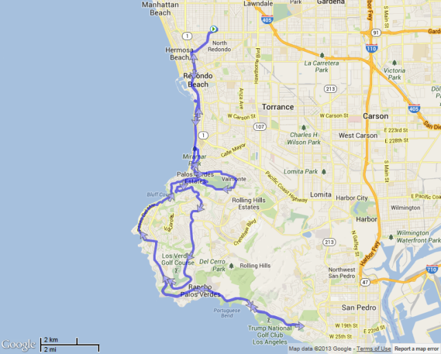 Map of the ride. The inland stretch was uphill and HOT. The beach was cool and WINDY. Rare day that the wind was the lesser evil...