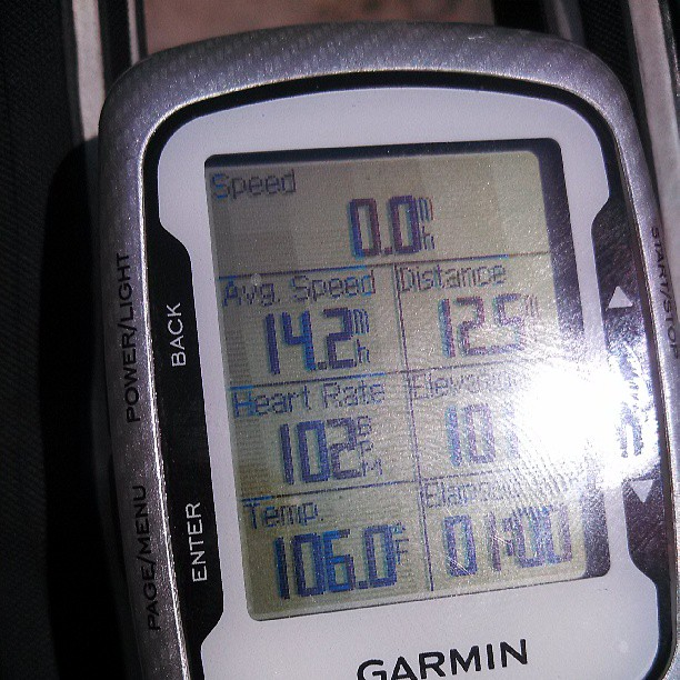 The display on my Garmin device as I was nearing the summit of my climb. Yep, that reads 106F, on its way to a max of 107.8F. Ouch!