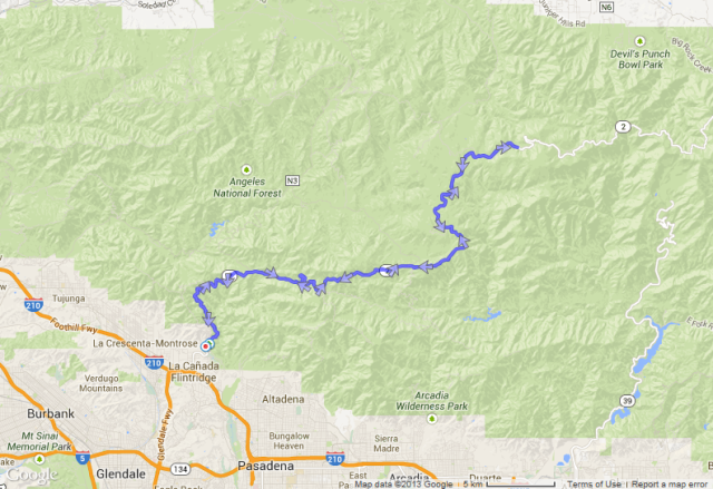 What that kind of climb looks like on the Angeles Crest Highway from above