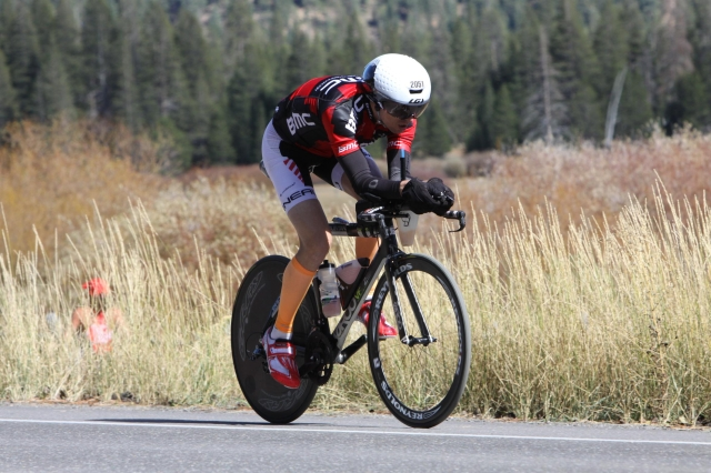 I had composed myself well enough after the crash to resume riding in a really good aero position on the last stretch toward Squaw Valley... and the transition to the run!