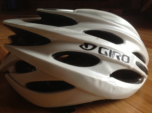 Not very evident here - helmets these days are very, very good - but my beloved Giro Prolight is toast. The foam inside is completely broken