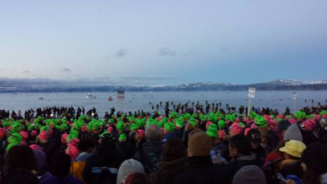 Just me and a couple thousand of my closest friends for the day trying to stay warm and not psych ourselves out looking over the 2-loop swim course.