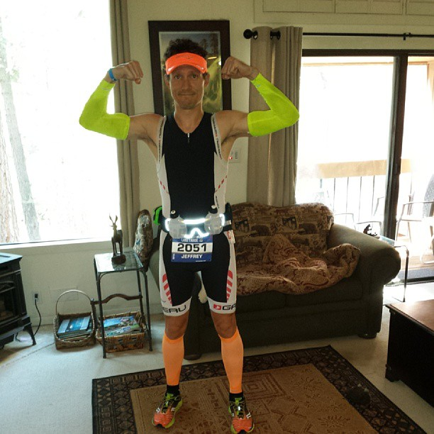 What I'll look like on the run. Mission Athletecare arm coolers, 2XU calf compression sleeves, my Louis Garneau kit, and some bright Saucony headgear and Kinvaras.