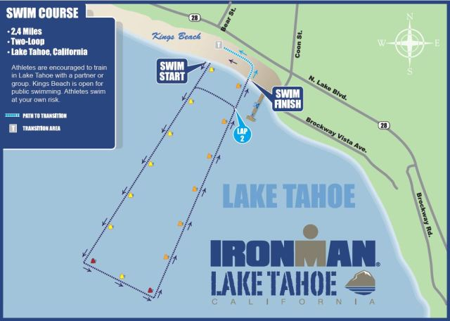 The Ironman Lake Tahoe swim course. Swim out about 1/2 mile, turn left and swim a couple hundred yards, swim back about 1/2 a mile toward shore... take a left turn and repeat. 2.4 miles of swimming crystal clear waters.