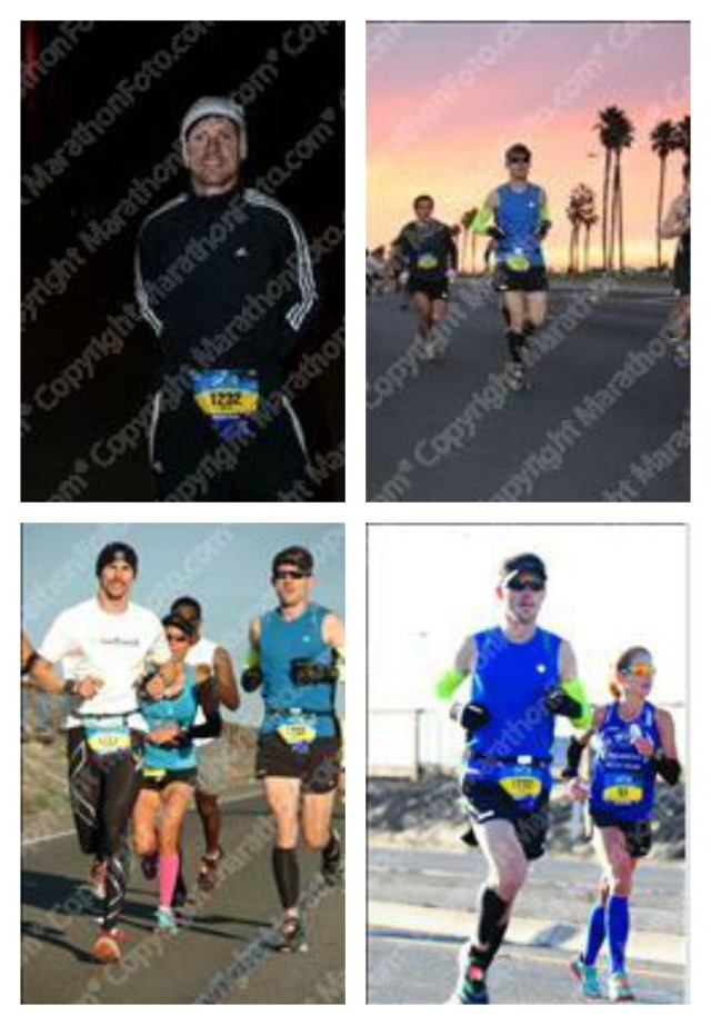 While I wait for the downloads from MarathonFoto, here is a montage of proof snippets. Clockwise from upper left: 1. Prerace smiles. 2. Sunrise along the beach. 3. The group I settled in with (the woman is Dolores, and she got third place for the women... and is turning 50 soon!). 4. Me and the former women course record holder (she later dropped out as she was using this race as a training session)